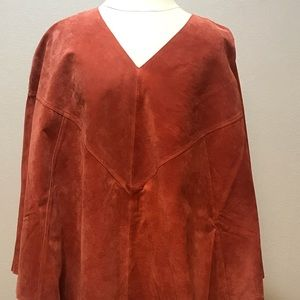 Dialogue Washable Suede Leather Cape/Poncho